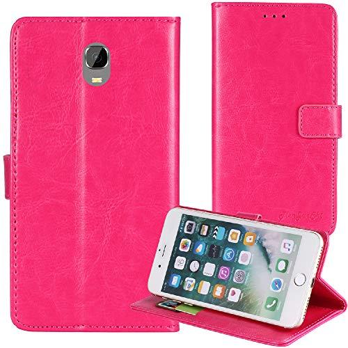 TienJueShi Rosa Flip Book-Style Brief Leder Tasche Schutz Hulle Handy Hülle Abdeckung Fall Wallet Cover Etui Skin Fur Oukitel K6000 Plus 5.5 inch