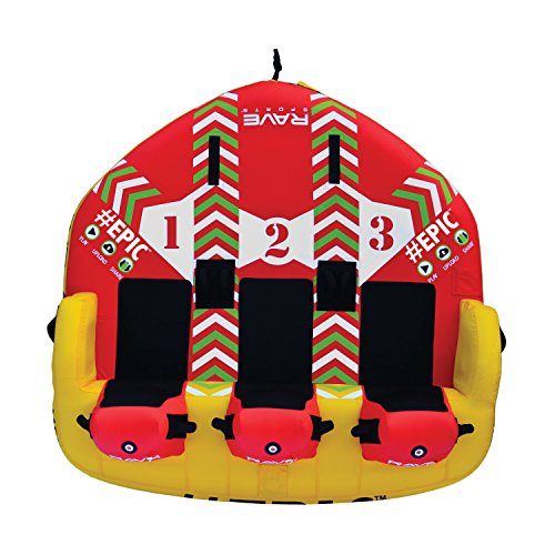 """RAVE Sports 02645 #EPIC 3-Rider Towable , red , 78"""" x 77"""" x 34"""""""