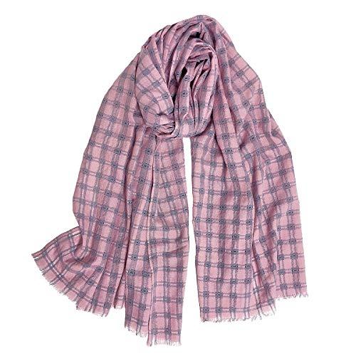 DAMILY Damen Plaid Leinen Schal leicht umhüllt Decke Tomber Reiseschal Bommel Plissee Halstuch Warm Gr. 56, Pink