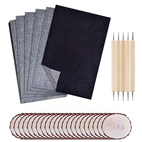 Papel de carbono, 100 hojas de papel de transferencia + 5 lápices para grabar en relieve + 20 piezas redondas de madera de grafito, papel de calco para madera, papel, lienzo, cerámica, arcilla.