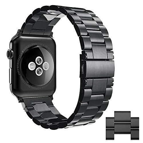 Simpeak Correa Compatible con Apple Watch Series 5/ Series 4/Series3/ Series 2/ Series 1 Correa 42mm de Acero Inoxidable Reemplazo de Banda de Compatible con iWatch Todos los Modelos 42mm, Negro