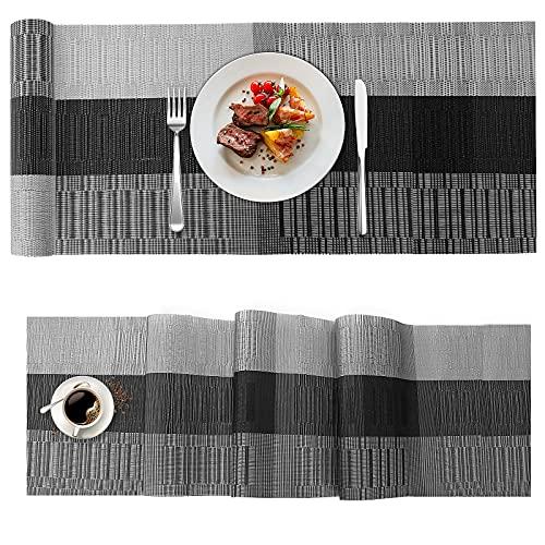 Ansontop Camino de Mesa | Camino de Mesa Decorativo | Mantel de Mesa | Mantel de Mesa | 180 x 30 cm | Mantel de PVC (Negro y Gris)