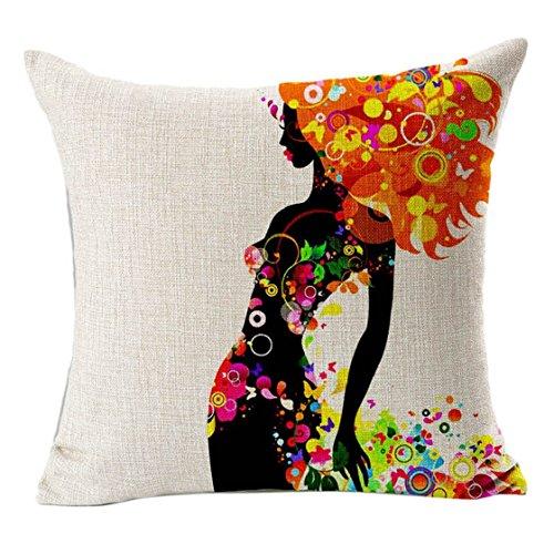 Sannysis fodere per cuscini federa vintage di cotone stampato floreale divano(arancio)