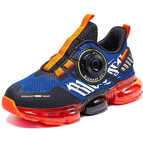 Boys Air Orange Blue Tennis Shoes Athletic Sneakers Kids Running Sport Shoes Lightweight Breathable Little Kid Size 13