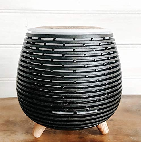 Aromatherapy Essential Oil Wooden Grain Diffuser with Auto Shut-Off Function | Cool Mist Humidifier for Yoga Spa Office Bedroom Home | 120ml (Black)