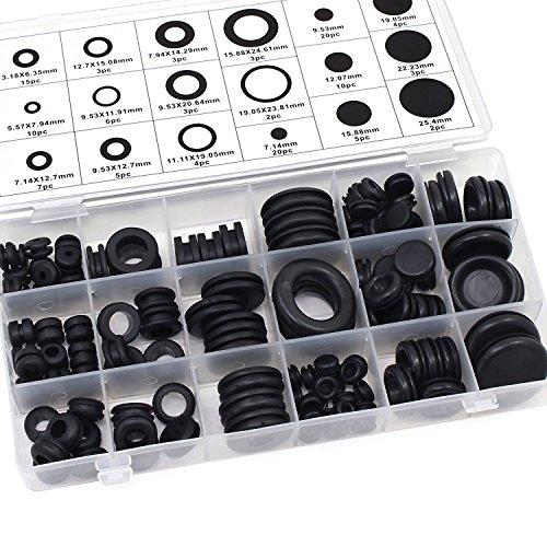 Aussel 18 Tamaños 125 Piezas Guarnición de goma negra Junta del conductor eléctrico Juego de surtido del anillo para la protección de alambres, conectores y cables (125PCS)