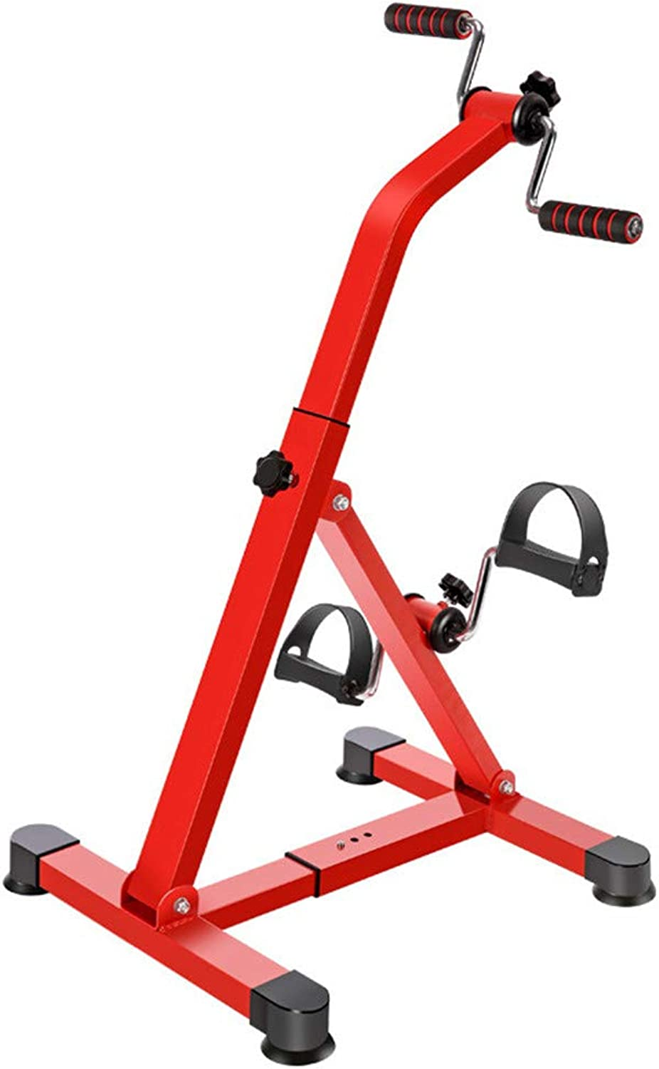 Pedal Exerciser  Portable Legs & Arms Workout Pedal Exerciser  Provides Superior Physical Workout with Tension Adjustment, Durable Construction with NonSlip Base,Red