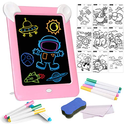 Tableta de Dibujo Pizarra 3D Mágica con Luces LED Educativo Infantil Borrable...