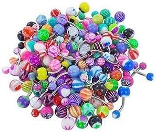 KHHGTYFYTFTY 60pcs Surtido de Bolas de Colores Piercing Anillo de la lengüeta Barras de Botones Profesional joyería Pierci...