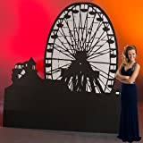 9 ft. 5 in. Vintage Boardwalk Carnival Circus Ferris Wheel Silhouette Standup Photo Booth Prop Background Backdrop Party Decoration Decor Scene Setter Cardboard Cutout