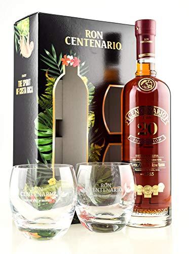 Ron Centenario 20 Jahre Fundación Sistema Solera Reserva Especial 40% vol. 0,7l mit zwei Gläsern Edition 2020