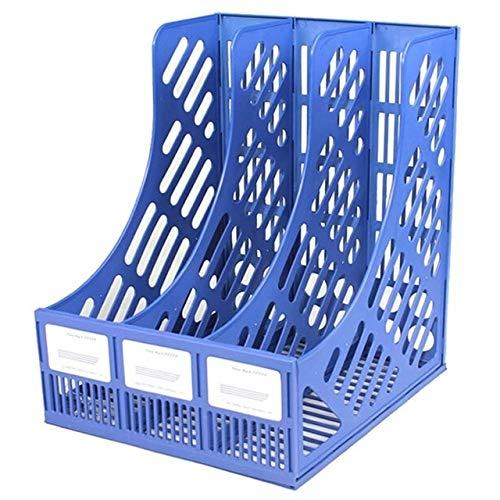 LYR Archivo de plástico Rack portátil Rack Office Home Desktop Magazine Bookshelf Organice Caja de Almacenamiento-Blue
