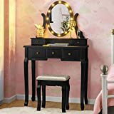 Giantex Vanity Set with 12 LED Lights Mirror and Cushioned Stool, Dressing Table with 360° Rotating Mirror, 5 Drawers & Makeup Shelf, Writing Desk Makeup Table with Bench (Black)