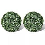 vidaXL 2X Bola de Boj Artificial Verde 27 cm Arbusto Redondo Planta Plástico