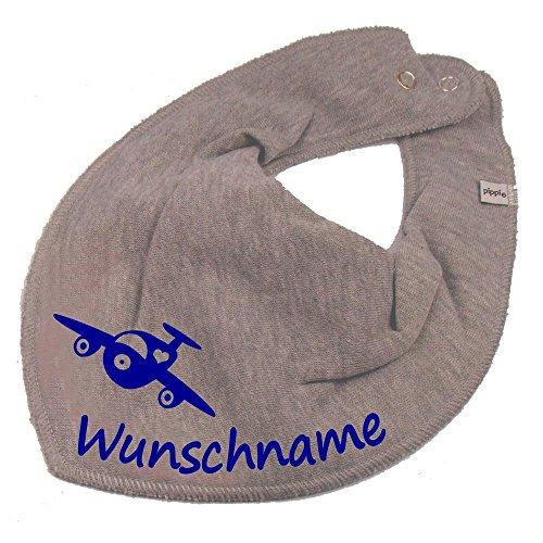 Elefantasie Elefantasie HALSTUCH Flugzeug mit Namen oder Text personalisiert grau für Baby oder Kind