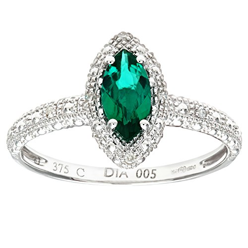 Naava Women's 9 ct White Gold Created Emerald and Diamond Marquise Cluster Ring