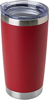 DOMICARE 20oz Stainless Steel Tumbler with Lid, Double Wall Vacuum Insulated Travel Mug, Durable Powder Coated Insulated Coffee Cup, 1 Pack, Red