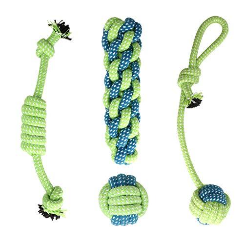 Depets 4 piezas de juguete de cuerda para perro, varios juguetes para masticar cuerda para mascotas, juguete duradero con nudo de cuerda para perros, cachorros, juguetes para perros pequeños cachorros