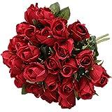 Hawesome 3 Bouquet de 9 Boutons de Roses artificiels Fleurs en Tissu rétro décors Fleuris Nuptiale Bouquet de Mariage décoration d'intérieur Article de décoration Generic Rouge Blanc Violet Rose