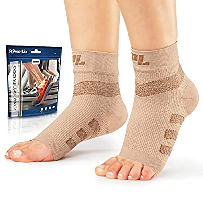 Powerlix Plantar Fasciitis Socks (Pair), Nano Socks, Ankle Compression Support Brace for Women & Men, Toeless Sleeve for Arch and Heel Pain – Better Than Night Splint & Insoles
