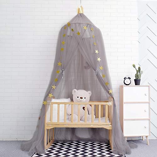 A/N Dosel para habitación de niñas, perfecto para decoración de habitaciones infantiles, mosquitera, tienda de campaña para niños, princesa, dormitorio o habitación de bebé (gris)