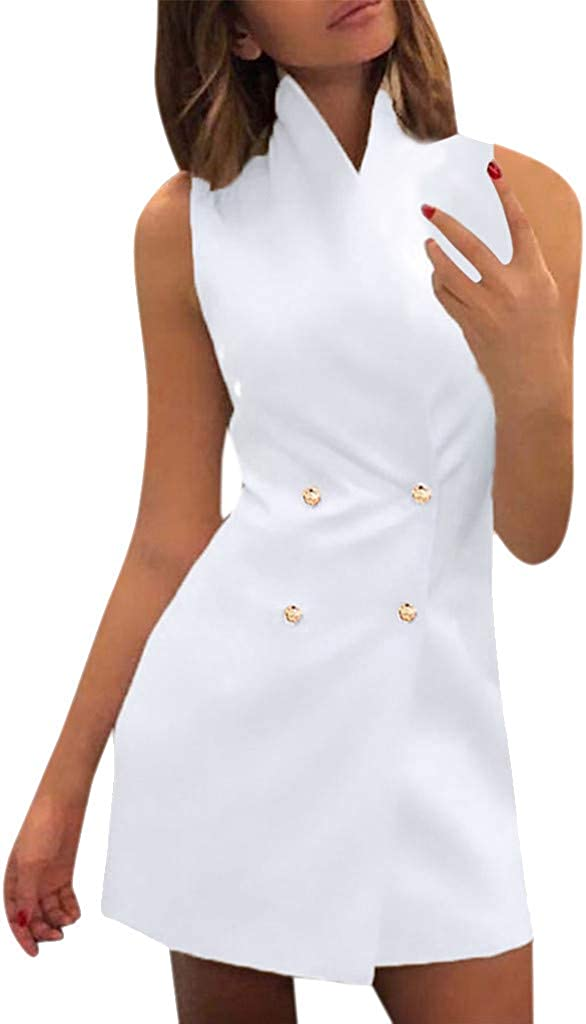 Plain High Neck Dress,PAOLIAN Summer Women Sleeveless Slim Suit Vest Double-Breasted Work Office Bodycon Daily Costume
