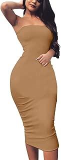 Women's Basic Sleeveless Tube Top Sexy Strapless Bodycon Midi Club Dress