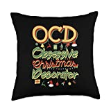 LOL Fun Acronym Gifts OCD Obsessive Christmas Decorator Funny Acronym Throw Pillow, 18x18, Multicolor