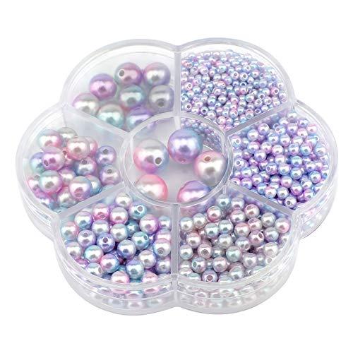 SAVITA 1150PCS 3/4/5/6/8/10/12mm Perle Finte Sfumate Colorate Chiare Perle Distanziali Rotonde Sciolte Per Collane Artigianali Fai Da Te Bracciali Orecchini Anelli