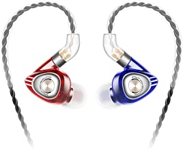 SIMGOT EM1 Hi-Res in-Ear Monitor Headphones, IEM Earphones with Detachable Cable, Dynamic Driver, Noise-Isolating Musician Headset, Design HiFi Earbuds for Smartphones and Audio Players (Red/Blue)