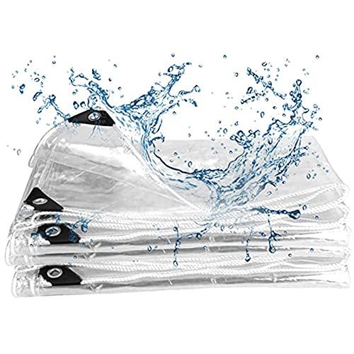 AWSAD Toldo impermeable resistente al agua, con ojales para muebles de jardín, piscina (color transparente, tamaño: 1,4 x 3 m)