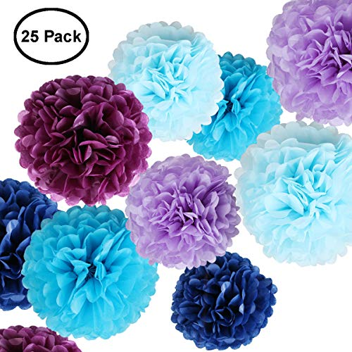 Tissue Paper Flowers - Paper Pom Poms for Crafts - Large Hanging Pom Poms for Party Decorations, Wedding Backdrop, Home Décor - Blue