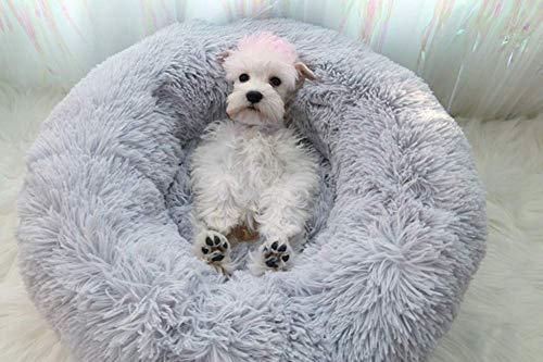 Maran Plüsch Runde Hundebett Selbstwarm Katzenbett rutschfest Hundematte mit weichem Kissen Abnehmbar Waschbar Betten für Katzen und kleine bis mittelgroße Hunde-Grau-M:70 * 70CM
