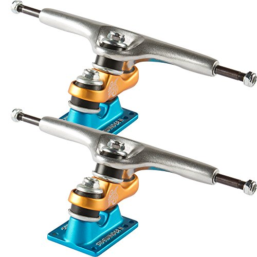 Gullwing Sidewinder II 10.0 Silver/Orange/Blue Truck Longboard Skateboard Trucks (Set