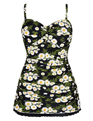 Hilor Women's One Piece Swimsuits Tummy Control Swimwear Ruffle Swimdress with Panty White Chrysanthemum 14