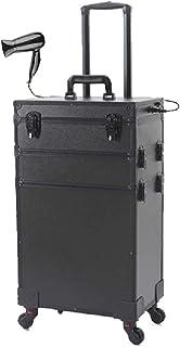 WSJTT. حقيبة صندوق المكياج الاحترافية لتنظيم مستحضرات التجميل أثناء السفر مع مرآة وقفل بنمط أسود (مقاس : 3 طبقات)