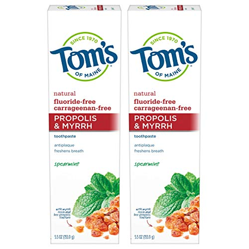 Tom's of Maine Antiplaque Fluoride-free Spearmint Toothpaste with Propolis and Myrrh, 5.5 Ounce, 2 Count