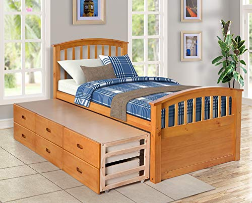 Modern Bedroom Double Bed Frame, Full-Size Solid Wood Double Bed Frame, Solid Wood Storage Cabinet with 6 Drawers (Oak)