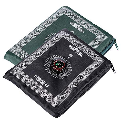 Muslim Travel Prayer Mat, Anlising with Compass Pocket Sized Carry Bag and Attached Compass Prayer Rug Portable Polyester 60100cm 2Packs