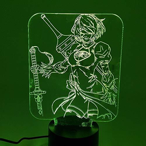 Luces de noche 3D LED que cambian el juego de anime Automata 3D Lighting Toy Figurine