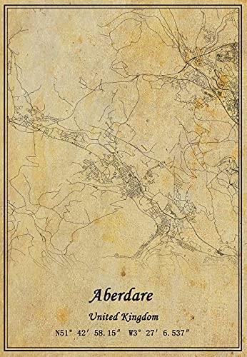 Póster de mapa de Aberdare del Reino Unido con impresión en lienzo...