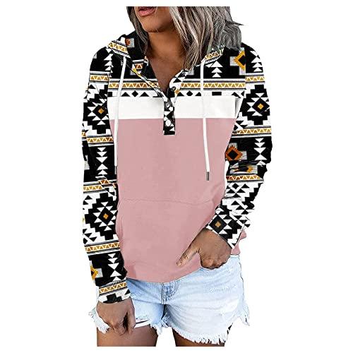 Womens Aztec Pullover Trendy Casual Fall Winter Geometric Print Hooded Sweatshirt Teen Girls Long Sleeve Gift Tops