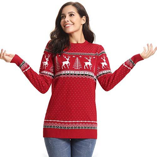 Aibrou Maglione Donna Natalizio Maniche Lunghe Maglione Stripe Girocollo Natalizi Casual Pullover Knitted Tops per Inverno Autunno Natale Rosso-Donna XXL
