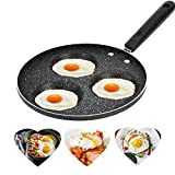 Padella per uova, lega di alluminio 3 cavità Padelle per uova fritte, Padella Antiaderente Multifunzione in Lega di Alluminio per Cuocere Uova Fritte e in Camicia, Pancake, Bistecca, Fornello a Gas