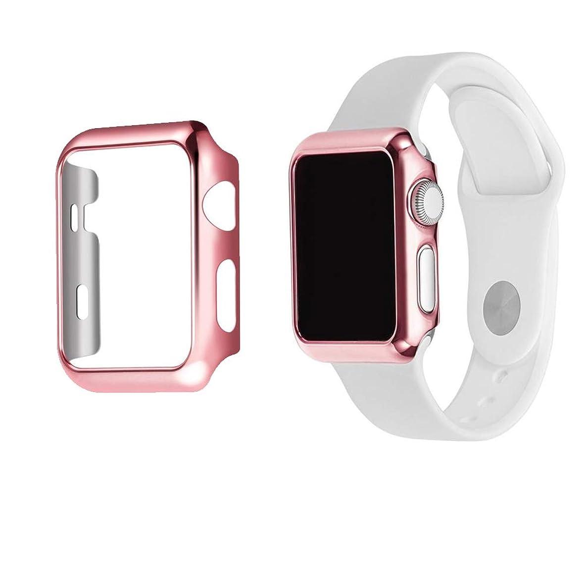 チャップ溶岩パキスタンAnkersaila ケース 対応 Apple Watch Series 3/2/1 42mm,メッキ高品質 PC ケース 耐衝撃性 超簿 脱着簡単 適応 ケース アップルウォッチ (42mm, ローズパウダー)