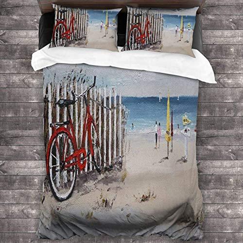 Juego de ropa de cama de 3 piezas de bicicleta en la playa de 218 x 177 cm, juego de ropa de cama de moda Queen con 2 fundas de almohada para dormitorio de adultos