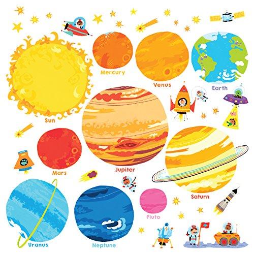 DECOWALL DS-8017 Planeta Espacio El Universo Vinilo Pegatinas Decorativas Adhesiva Pared Dormitorio Salón Guardería Habitación Infantiles Niños Bebés (Pequeña) (English Ver.)