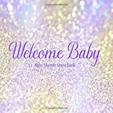 Baby Shower Guest Book Welcome Baby: Iridescent Purple & Gold Glitter Theme Decorations | Unisex Sign in Guestbook Keepsake with Address, Baby Predictions, Advice for Parents, Wishes, Photo & Gift Log