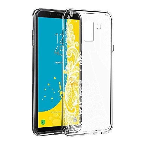 Cover Samsung J6 2018, Eouine Custodia Cover Silicone Trasparente con Disegni Ultra Slim TPU Silicone Morbido Antiurto 3d Cartoon Bumper Case per Samsung Galaxy J6 2018 5,6 Smartphone (Fiore Bianco)