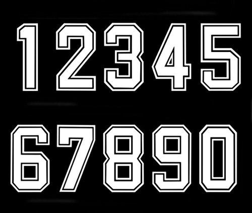Número termoadhesivo termoadhesivo para camiseta de fútbol, béisbol, color blanco
